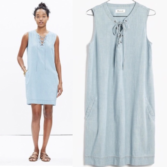 Madewell Dresses & Skirts - Madewell Sz S Lace up chambray shift dress